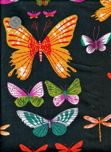 a0b2c 1 yard quilt fabric african butterflies a henry fabric black brights 44ad61f5laretaleratelasamericanasventaonlinebaratascostura - La Retalera