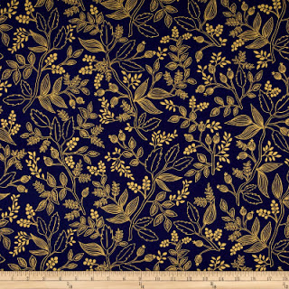 d6486 queen anne navy metallic les fleurs rifle paper co la retalera - La Retalera